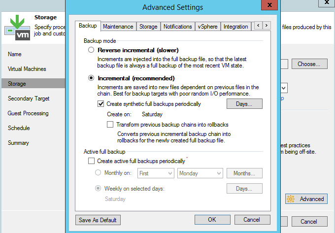 Veeam - A forward incremental backup job with periodic synthetic full