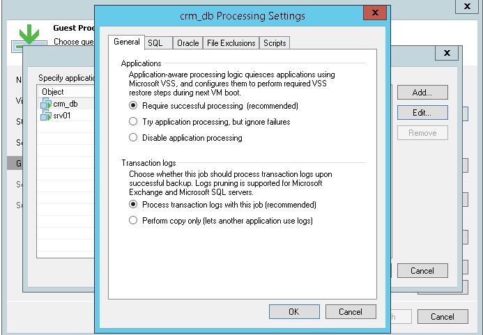 Veeam - guest processing