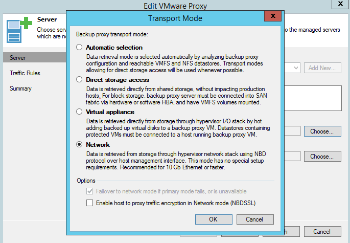 Veeam - Set the target proxy mode to Network.